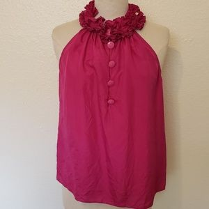 J Crew silk magenta ruffle neck blouse small
